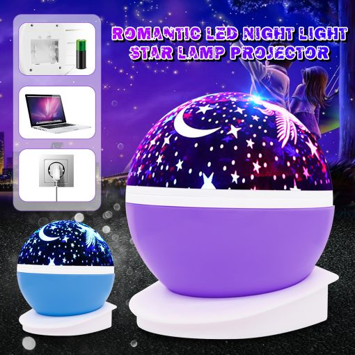 LED Rotating Night Light Projector Starry Sky Star Projection Lamp Children's Room Decorated Lights